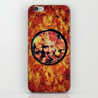 "nicolas cage iPhone & iPod Skins featuring Nicolas cage eyeshadow: ""Nic Cage Raking Leaves On a Brisk October Afternoon"" by Paris Noonan"