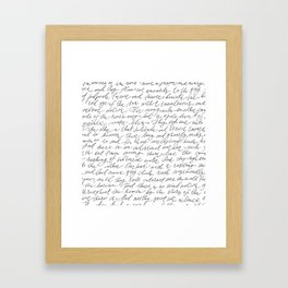 Script Text Book Page Letter Framed Art Print