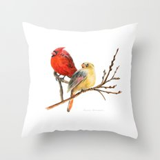 The Perfect Pair - Male and Female Cardinal Throw Pillow
