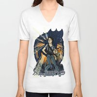 aliens V-neck T-shirts featuring Aliens by Ginger Breo
