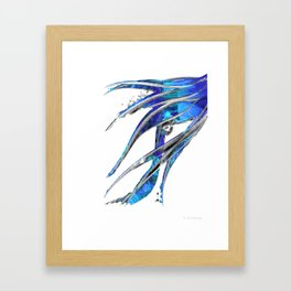 Abstract Blue And White Art - Flowing 5 - Sharon Cummings Framed Art Print