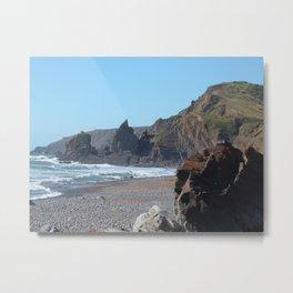 SANDYMOUTH BEACH NORTH CORNWALL Metal Print