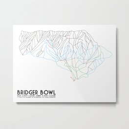 Bridger Bowl, MT - Minimalist Trail Art Metal Print