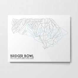 Bridger Bowl, MT - Minimalist Trail Art Metal Print