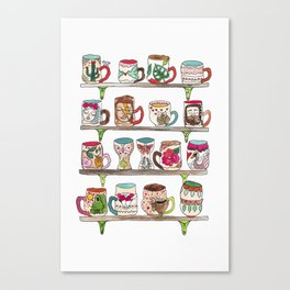 mugs on a shelf Canvas Print