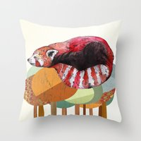 panda Throw Pillows featuring Red Panda by Sandra Dieckmann