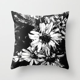 Ink drawing of camomiles, black and white Throw Pillow