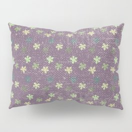 Vintage mauve purple green abstract leaves pattern Pillow Sham