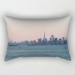 New York City Summer Sunset Skyline Rectangular Pillow