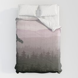 mountain forest in fog and sunrise with stars Comforters
