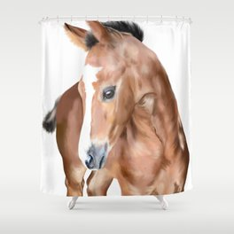 Foal horse baby animal Shower Curtain