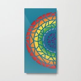 Mosaic Rainbow on Mosaic Blue Metal Print
