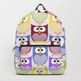Colorful Owls - Green Blue Purple Yellow Backpack