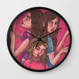 Clock Sisters (Moirai) Wall Clock