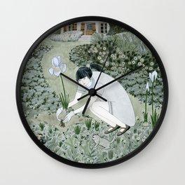 Planting Irises Wall Clock
