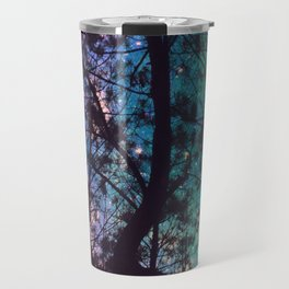 Black Trees Colorful Teal Space Travel Mug