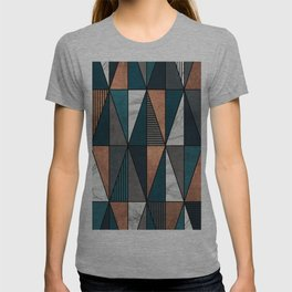 Copper, Marble and Concrete Triangles with Blue T-shirt