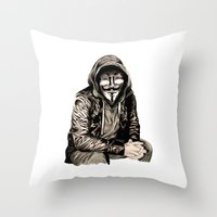 gangster Throw Pillows featuring Anonymous Gangster by 13 Styx