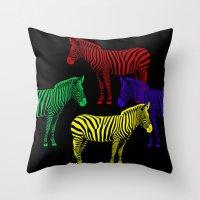 popart Throw Pillows featuring Zebra PopArt by Monika Juengling