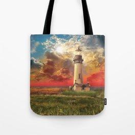 lighthouse landscape Tote Bag