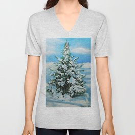 The Day After Snow Scene Art Unisex V-Neck