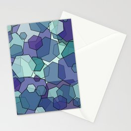 Converging Hexes - teal and purple Stationery Cards