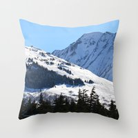 skiing Throw Pillows featuring Back-Country Skiing  - I by Alaskan Momma Bear