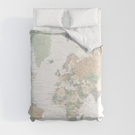 """World map with cities, """"Anouk"""" Comforters"""