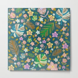 Botanical Art | Retro Tropical Pattern Teal Background Metal Print