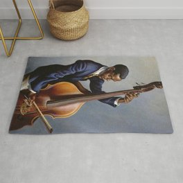 Classical Masterpiece 'Portrait of a Musician' by Thomas Hart Benton Rug