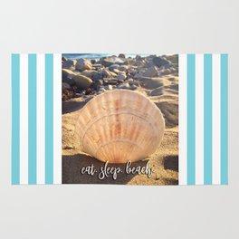 """""""Eat, beach, sleep"""" California sandy beach with seashell photo Rug"""