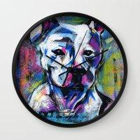 brad pitt Wall Clocks featuring BABE PITT by RaE Bright