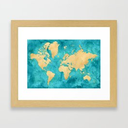 """Teal watercolor and gold world map with countries and states """"Lexy"""" Framed Art Print"""