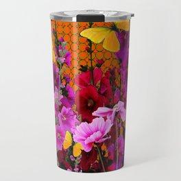 BUTTERFLIES IN PURPLE-PINK  FLOWERS GARDEN Travel Mug