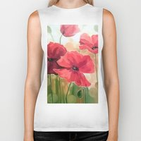 poppies Biker Tanks featuring Poppies by OLHADARCHUK