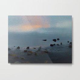 Sky Sea Sand Stone Metal Print
