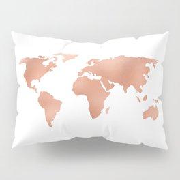 World Map Rose Gold Bronze Copper Metallic Pillow Sham