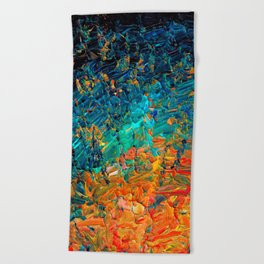 ETERNAL TIDE 2 Rainbow Ombre Ocean Waves Abstract Acrylic Painting Summer Colorful Beach Blue Orange Beach Towel