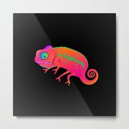 Chameleon. Neon Chameleon on a black background. Metal Print