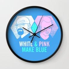 WHITE & PINK MAKE BLUE Wall Clock