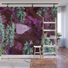Pink Moth on Green Sage Flowers Painted Photograph Wall Mural