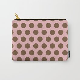 Pink and Brown Polka Dots 471 Carry-All Pouch