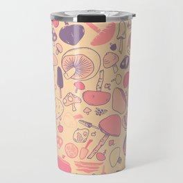 Vintage Mushroom Pattern Travel Mug
