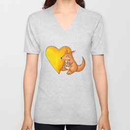Big Yellow Roo Heart Unisex V-Neck
