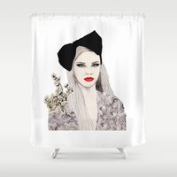 bow Shower Curtains featuring Bow by Melania B