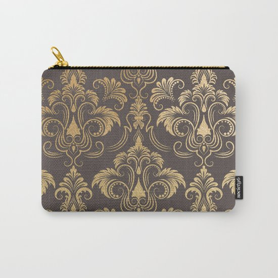 Gold foil swirls damask #10 Carry-All Pouch