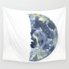 First Quarter Moon Watercolor Wall Tapestry