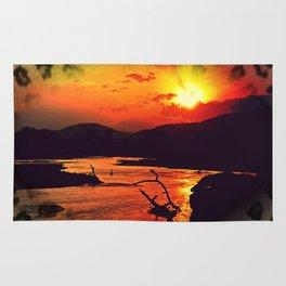 African River Sunset Leopard Rug