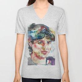 SYLVIA PLATH - watercolor portrait Unisex V-Neck