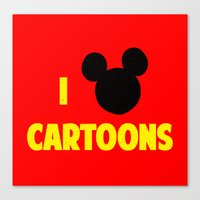 cartoons Canvas Prints featuring I heart Cartoons by ihearteverything